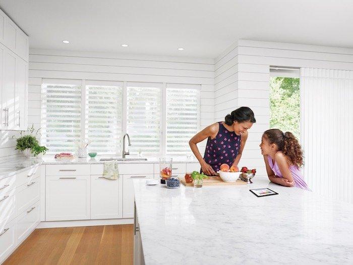 Modern Kitchen with Window Treatments