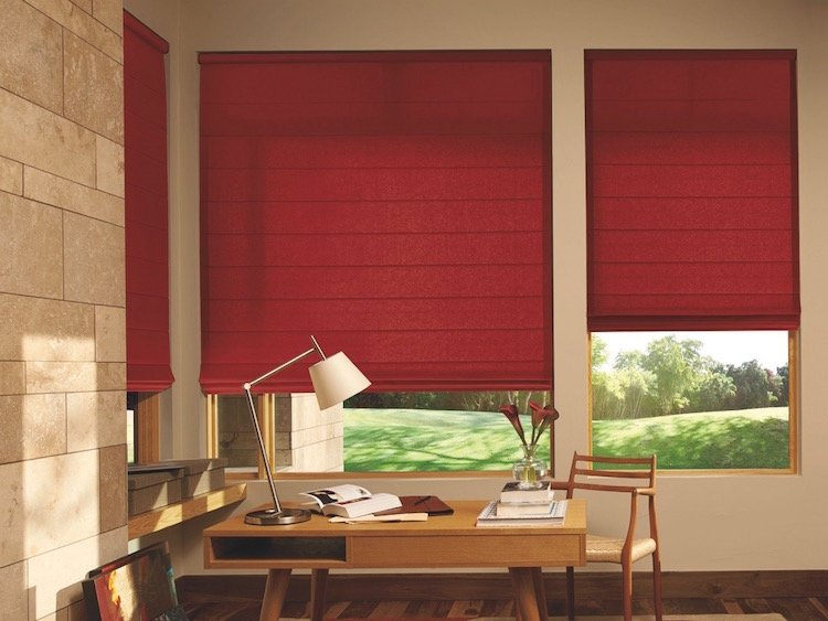 Red Window Shades For Bungalow Office