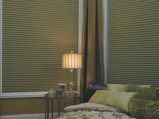 Rotale Textured Room Darkening Blinds in Bedroom