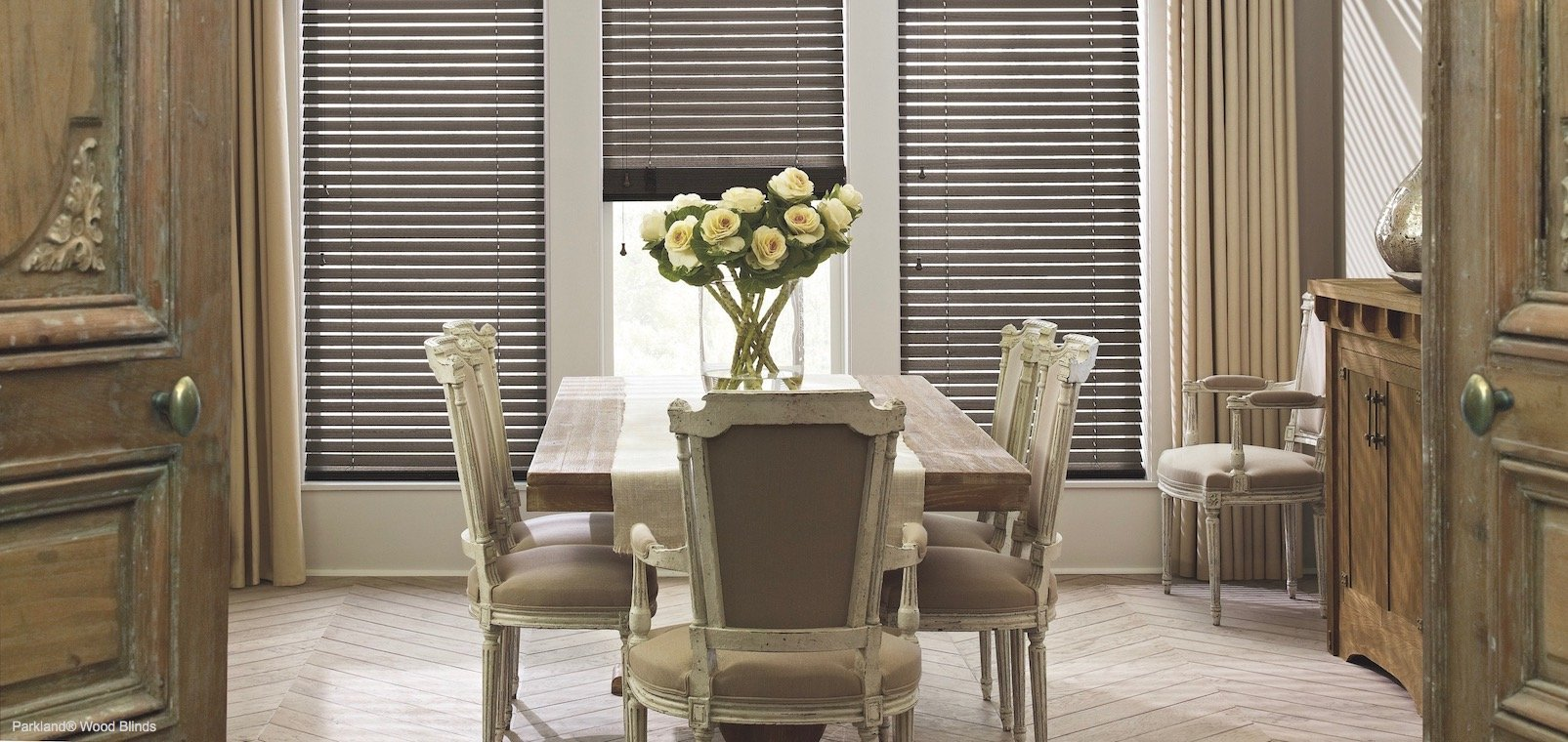 Natural Wood Decoration With Window Treatments