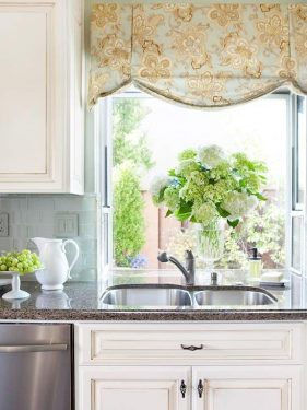 A Lovely Kitchen With Window Treatments